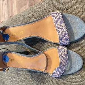 Blue fabric strappy heels